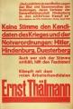 Kandidát KPD, E. Thälmann